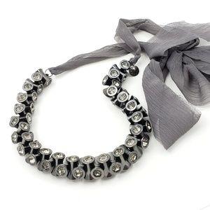 J. Crew Jewelry - J. Crew Statement Necklace Gun Metal + Ribbon